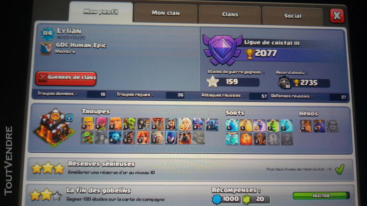 Compte clash of clans hdv 10 prema 183479498