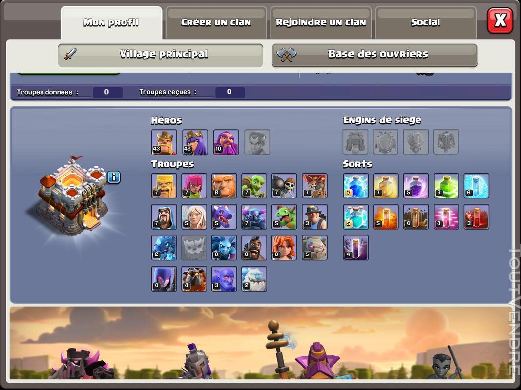 Compte Clash of clans hdv 11 non prema Rename gratuit 660829900