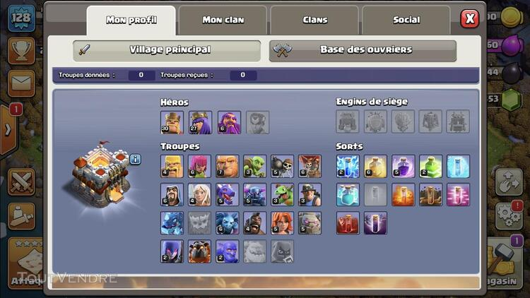 Compte Clash Of Clans HDV 11 726092543