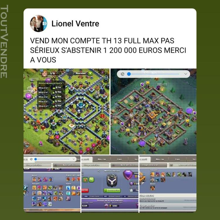 Compte clash of clans hdv  th 13 full max 663871540