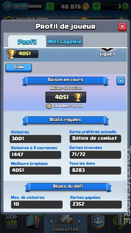Compte Clash Royale 209965707