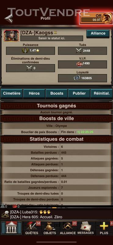 Compte game of war 1.4T ⭐️ de puissance 654801843