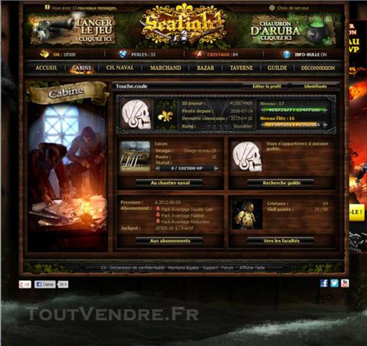 Compte seafight level 17 élite 16 full amiraux fr1 76796647
