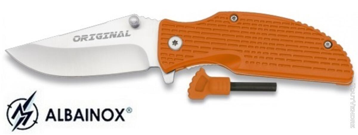 Couteau pliant orange + allume-feu fire starter - Albainox 122282946