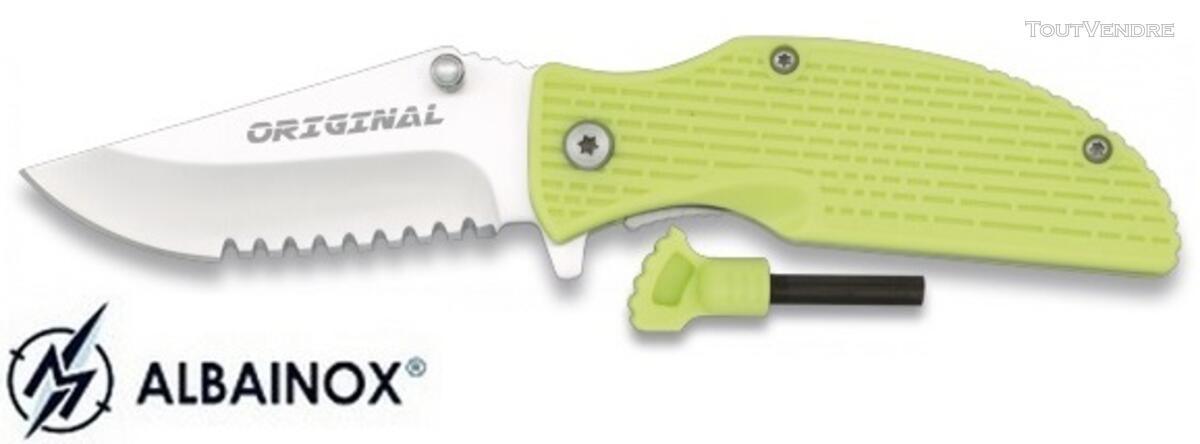 Couteau pliant vert + allume-feu fire starter - Albainox 122283064
