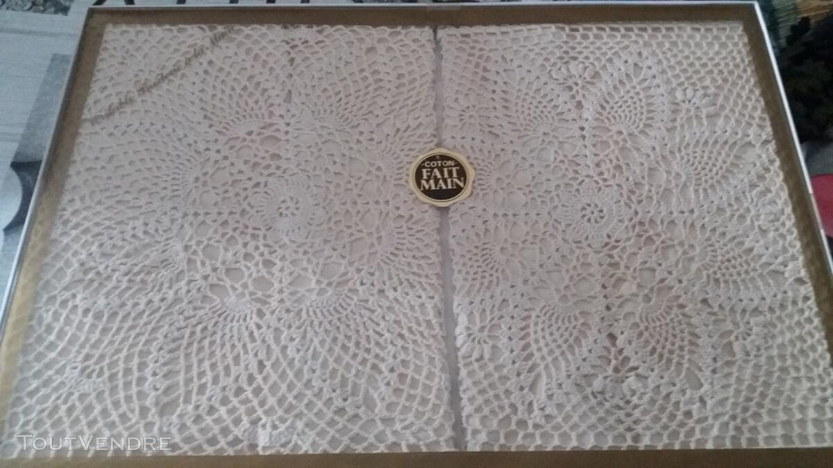 Couvre lit 2 pers et 2 taies d'oreillers coton fait main 122188923