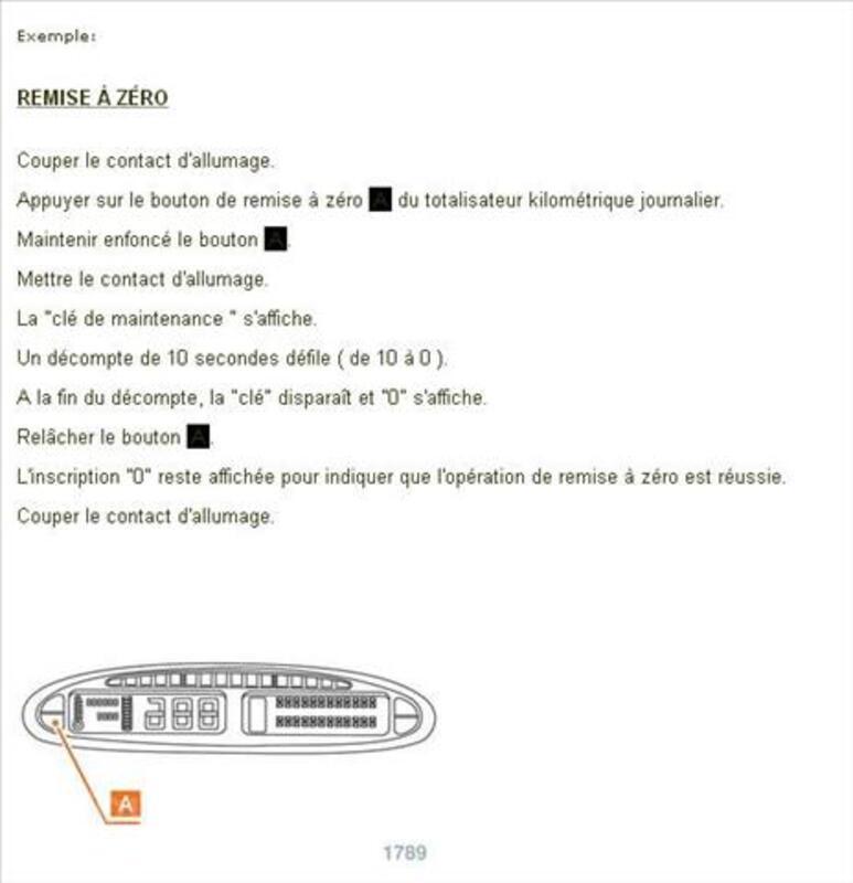 Documentation Reset indicateurs de maintenance 2014 84270498