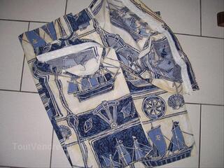 Doubles rideaux bleus, écru, avec motif bateaux