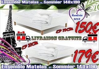 Ensemble Matelas HR + Sommier COMPLET