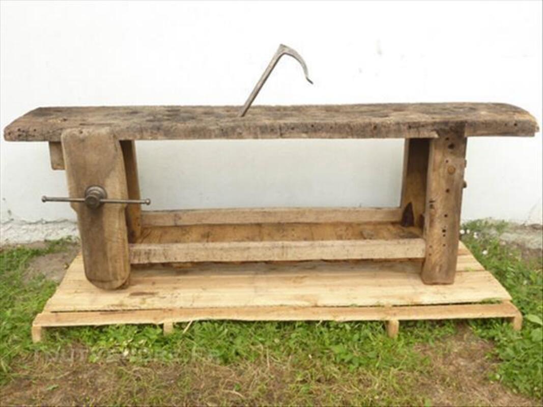 Etabli menuisier chène métal brossé ancien atelier XIX 78266682