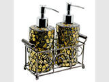Ex Display Gold Mosaic Glass Cylindrical Soap Dispensers