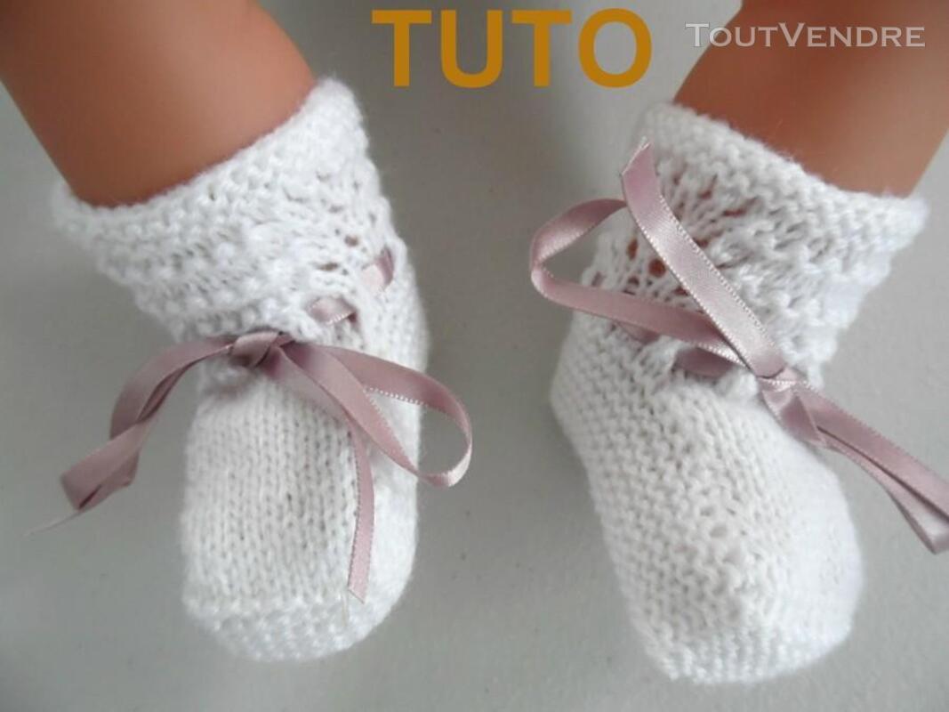 Explication TUTO chaussons layette bébé tricot laine 253564030