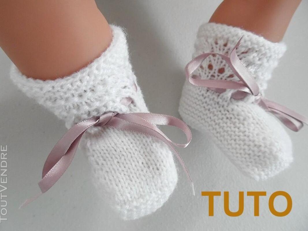 Explication TUTO chaussons layette bébé tricot laine 253564033