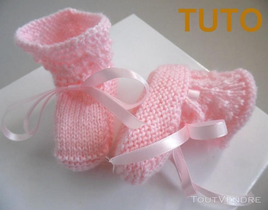 Explication TUTO chaussons layette bébé tricot laine 253564036