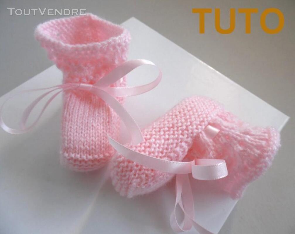 Explication TUTO chaussons layette bébé tricot laine 253564039