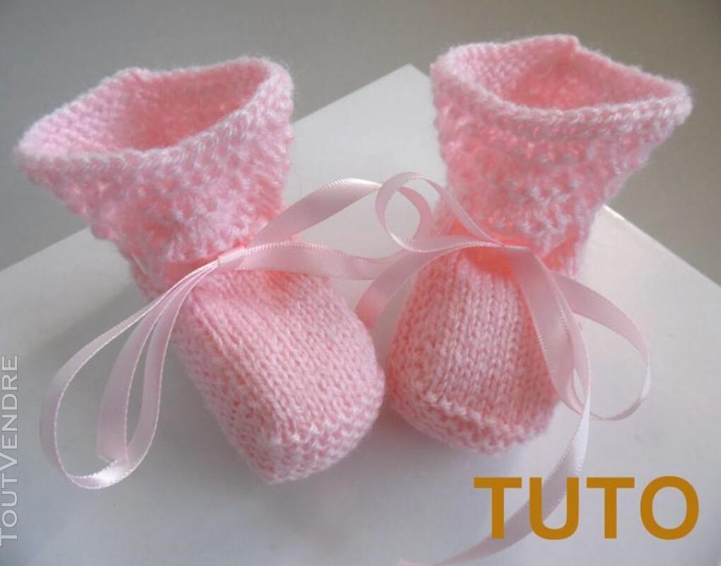 Explication TUTO chaussons layette bébé tricot laine 253564042