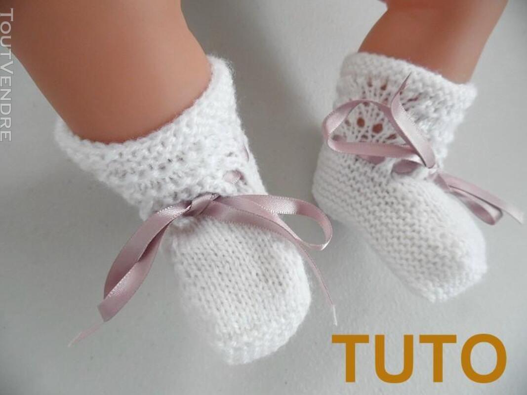 Explication TUTO chaussons layette bébé tricot laine 253564045