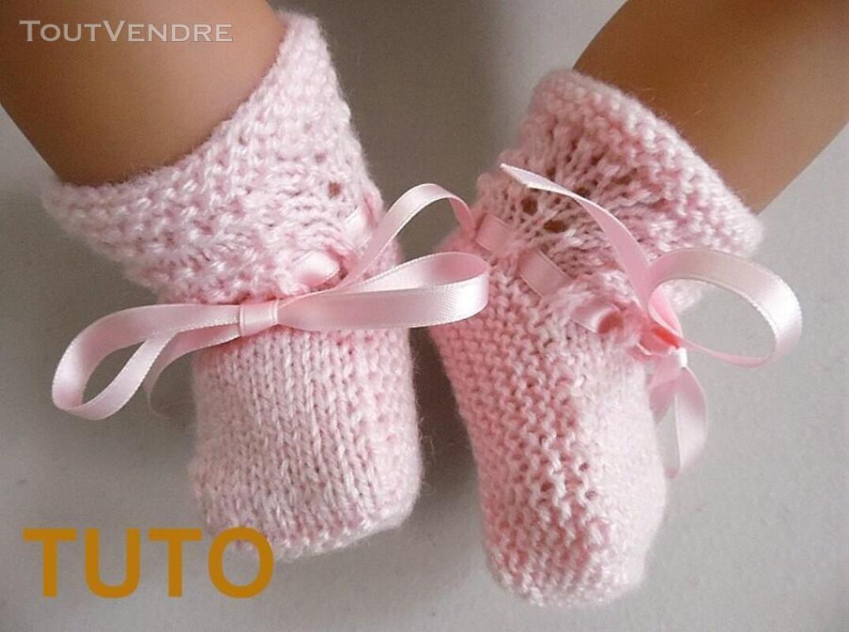 Explication TUTO chaussons layette bébé tricot laine 253564054