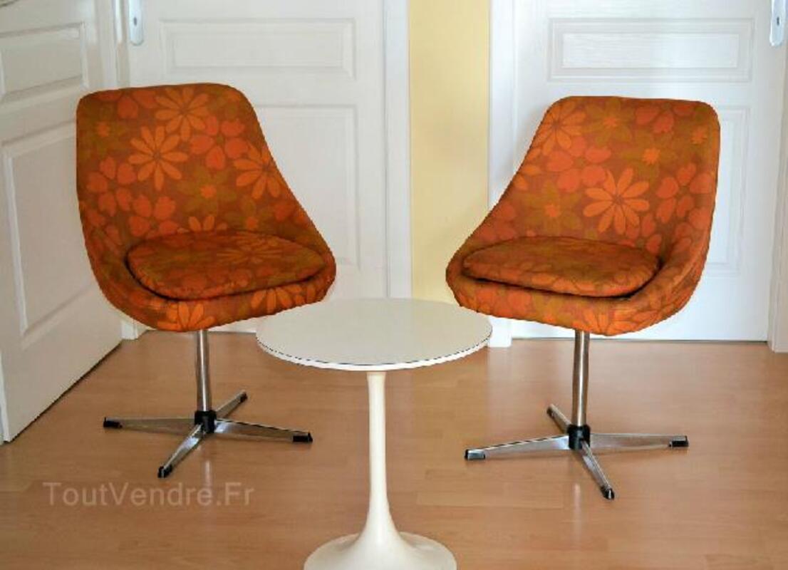 Fauteuils flower power orange vintage 91492282