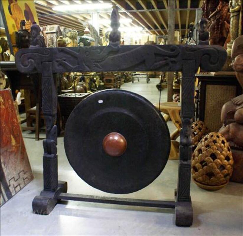 Gong en Fer - support en Teck H: 100 cm 35520199
