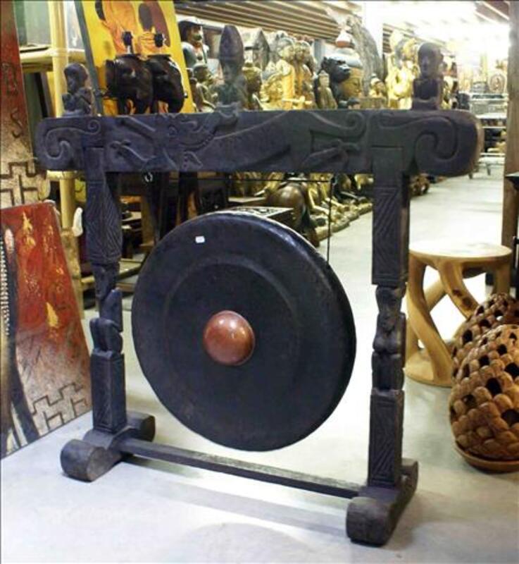 Gong en Fer - support en Teck H: 100 cm 35520200