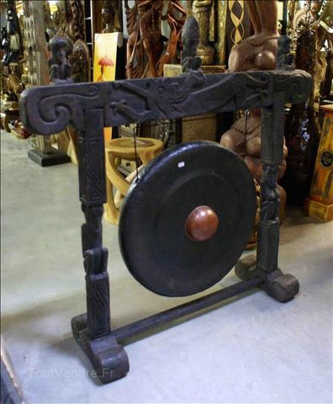 Gong en Fer - support en Teck H: 100 cm 35520201