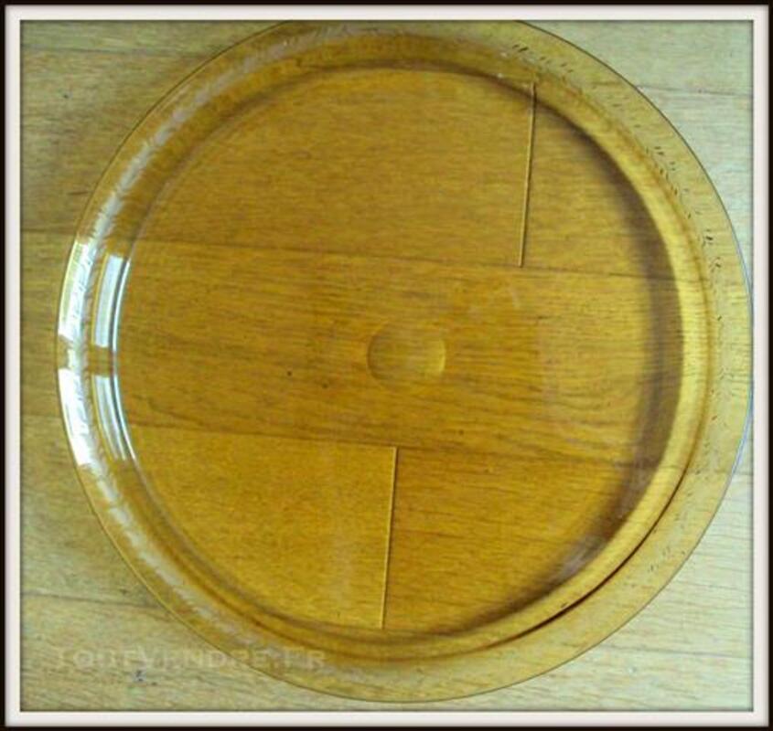 Grand plateau ambre verre décoré à l'acide 80724035