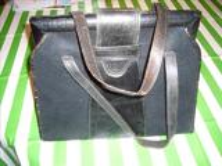 Grand sac noir ancien cuir et tissu façon feutre