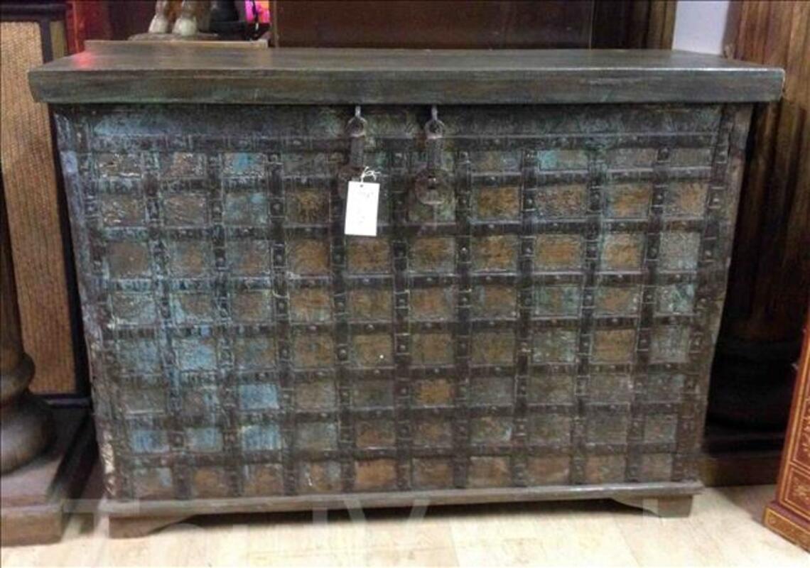 Grande malle ou coffre de rangement en bois - H: 89 cm 95590382