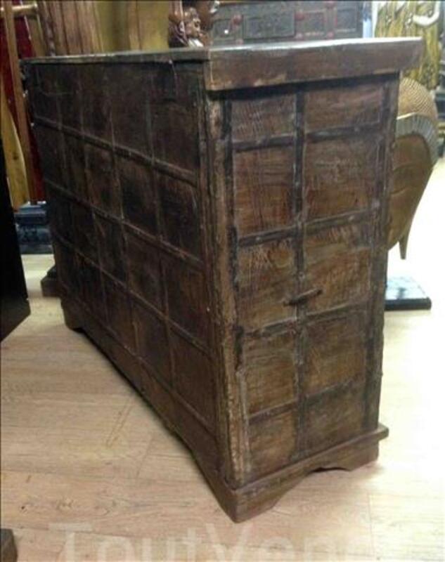 Grande malle ou coffre de rangement en bois - H: 89 cm 95590383