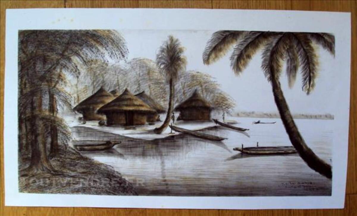 Gravure ? coin des pêcheurs Côte Ivoire signée  KOBO 80081104