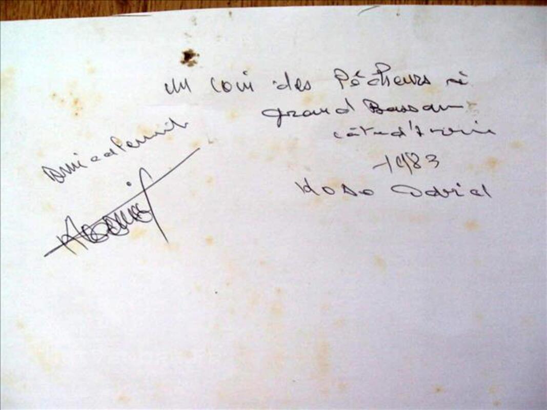 Gravure ? coin des pêcheurs Côte Ivoire signée  KOBO 80081106