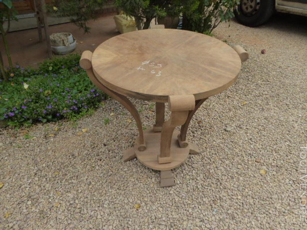 Gueridon table ancien art deco noyer brut decape 313065799