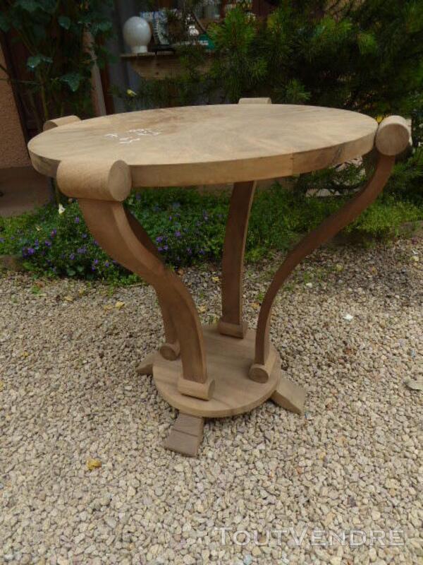 Gueridon table ancien art deco noyer brut decape 313065805