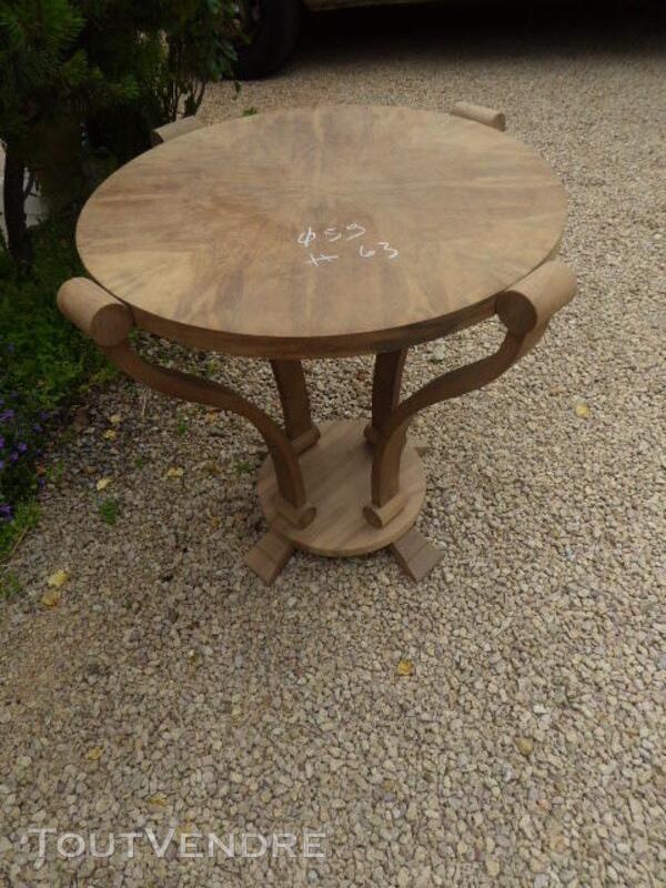Gueridon table ancien art deco noyer brut decape 313065811