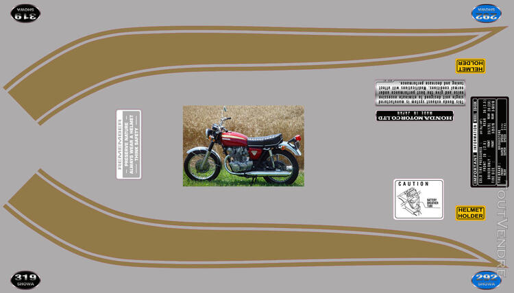 Honda CB450 K 1969-74, kit déco, sticker 666664275