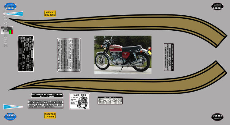 Honda CB750Four, K0 à K2, Kit déco, stickers 633289496