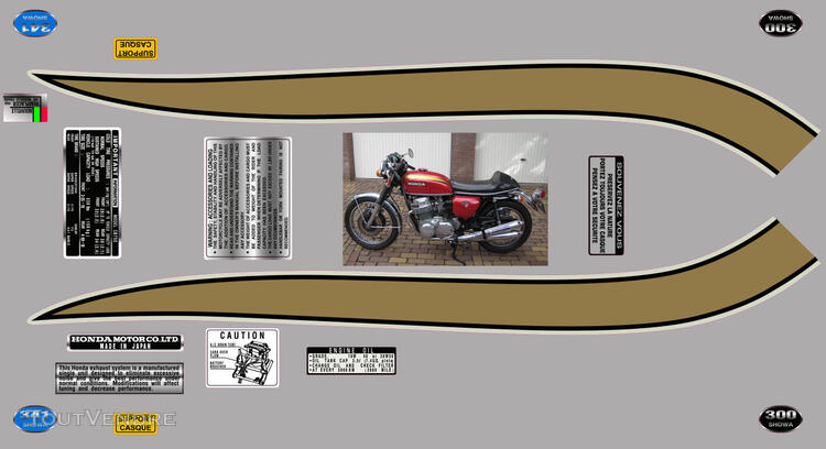 Honda CB750Four, K0 à K2, Kit déco, stickers 633289619