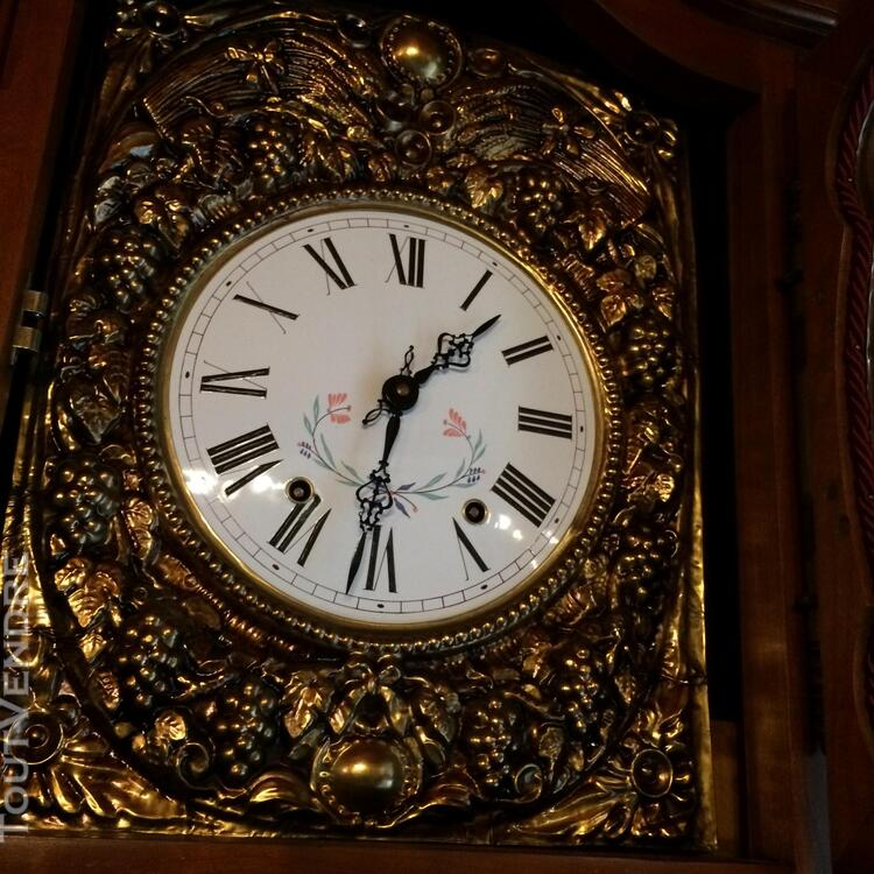 HORLOGE COMTOISE GALBÉE STYLE LOUIS XV MERISIER MASSIF 284052676