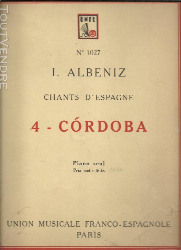 I ALBENIZ Chants d'Espagne - CORDOBA - Partition piano seul 177920987