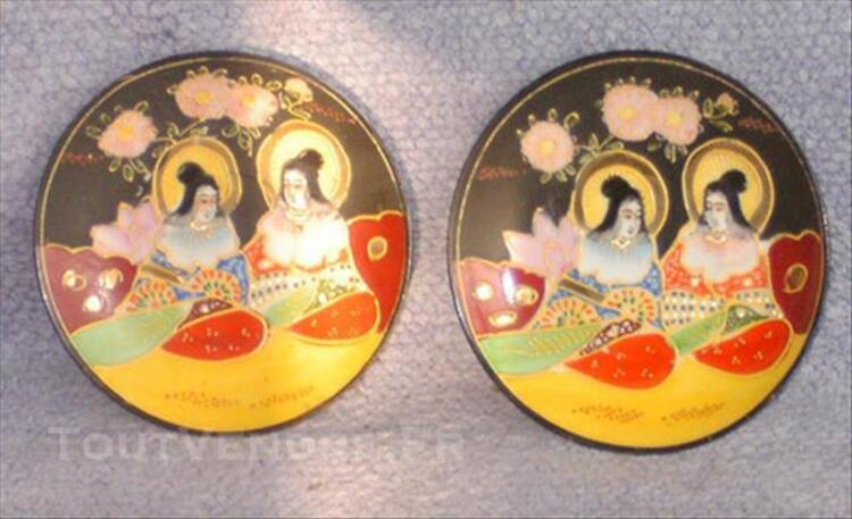 Japonaises - Satsuma 2 soucoupes plates 85973269