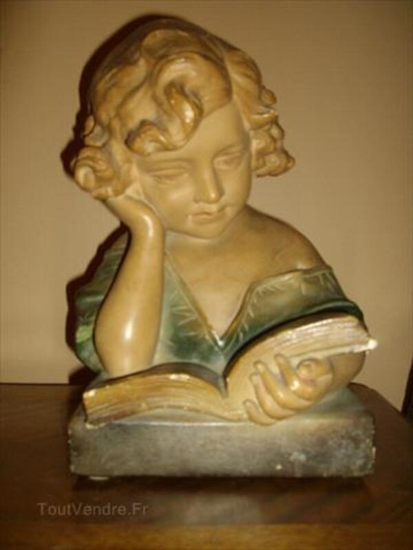 "Joli buste ancien en plâtre "" LA LISEUSE "" 64568542"