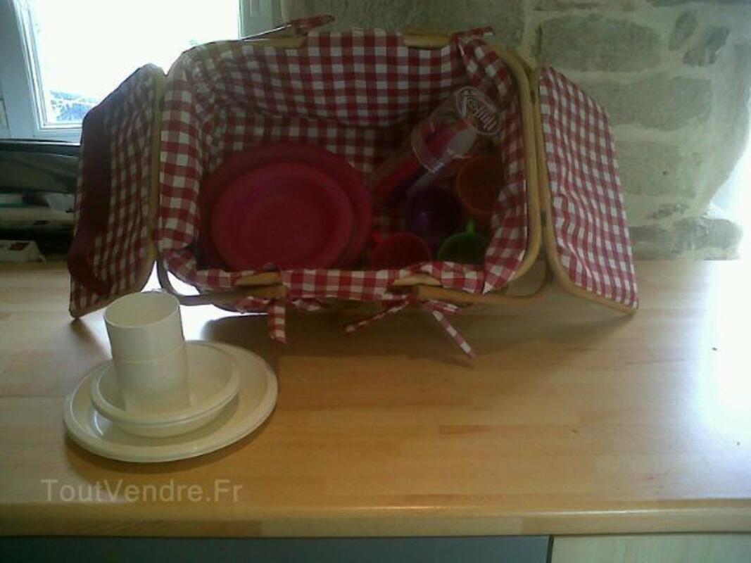 Joli panier à picnic pour 4 + 1 set blanc en plus 93834577
