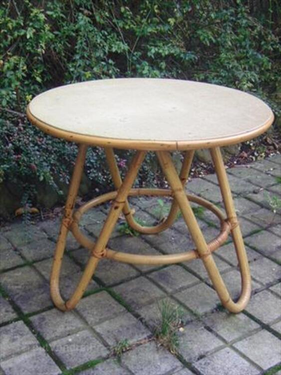 JOLIE TABLE BASSE RONDE VINTAGE BAMBOU/ROTIN 64587621