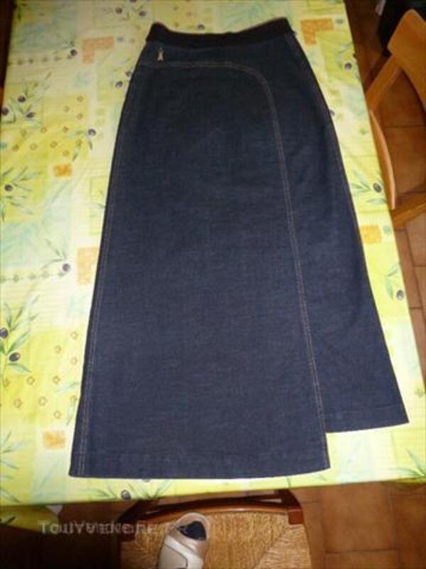 Jupe longue jean marine CopCopine - T38 45570705