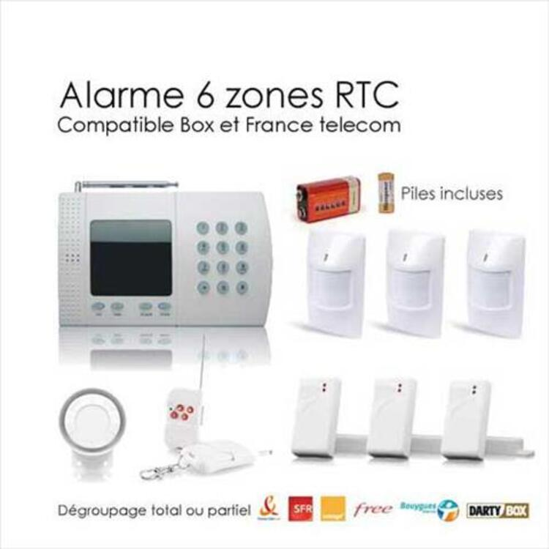 Kit alarme sans fil de 6 zones, large box 95642805