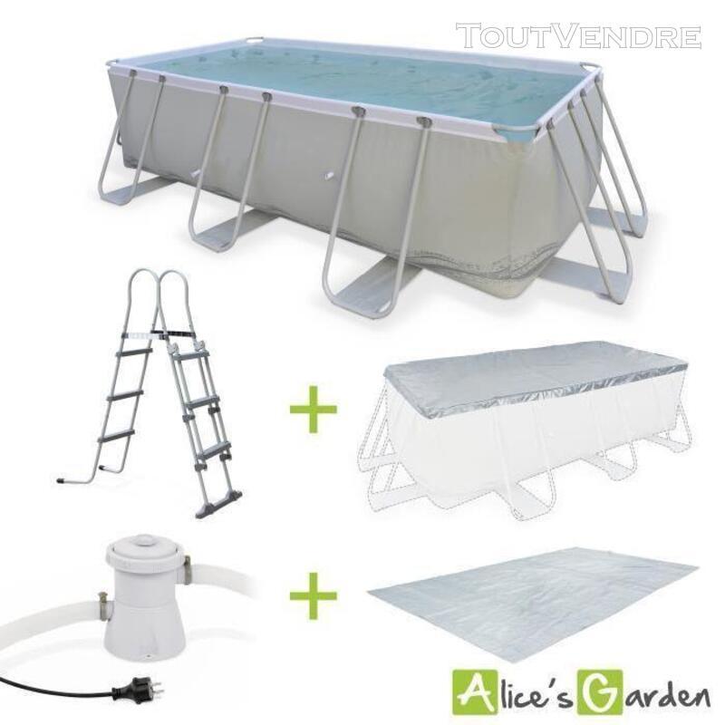 Kit grande piscine tubulaire Topaze 8m² grise, piscine 226789931