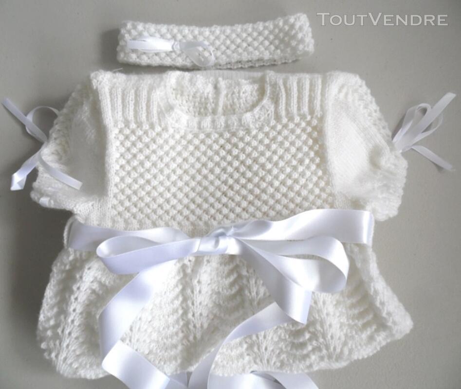 Laine bébé tricot robe de baptême fait main 124585272
