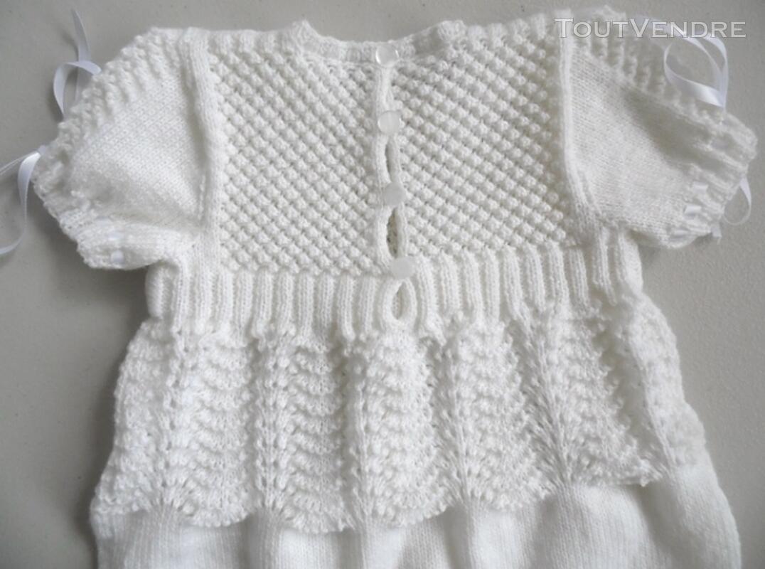 Laine bébé tricot robe de baptême fait main 124585273