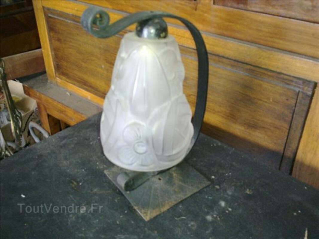 Lampe art déco 1930 Degué pate de verre fer forgé 88340638